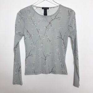 Kenneth Cole top sheer grey cherry blossoms size S